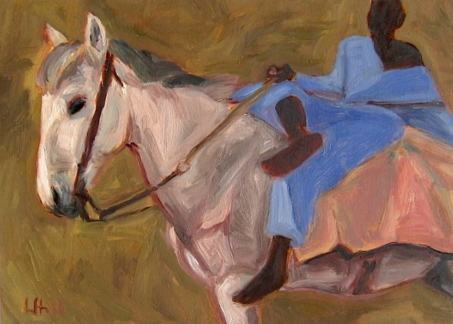 white horse blue-robed boy