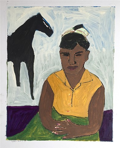 Girl and Black Horse