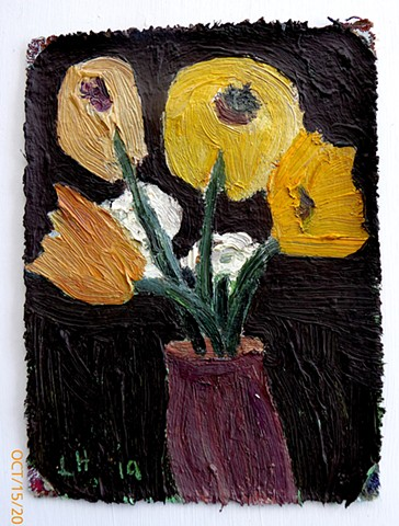 flowers - oil & flashe on canvas
