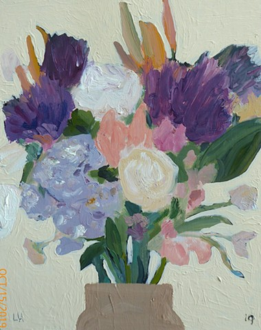 flowers - oil & flashe on board