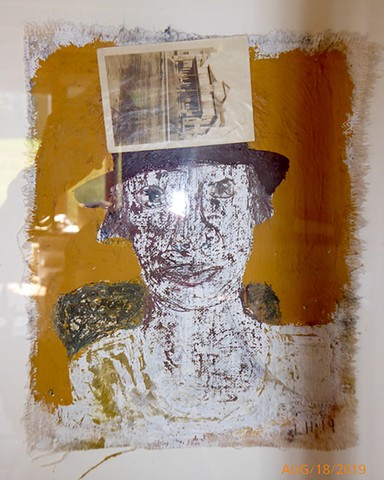 woman - mixed media on canvas (glass reflection)