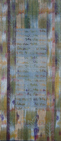 handwoven wall hanging, handpainted warp, nature inspired, Sept. 11, 2001, drawloom weaving by Kathie Roig