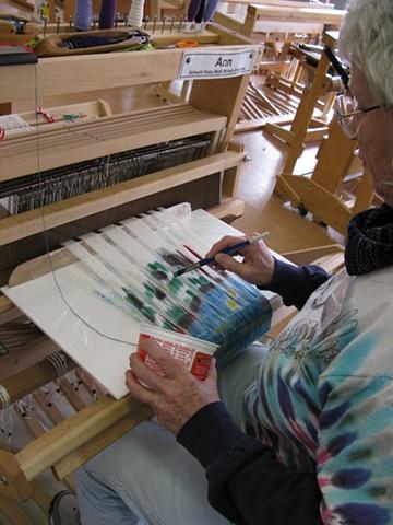 weaving classes, warp painting, on loom warp painting, weaving by Kathie Roig