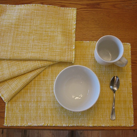 handwoven cotton placemats, handwoven by Kathie Roig