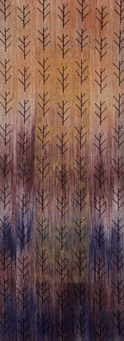 handwoven wall hanging, hand painted warp, nature inspired, north carolina mountains, handwoven by Kathie Roig