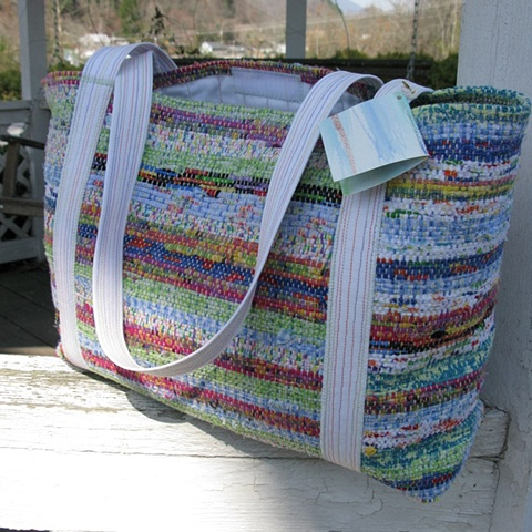 handwoven tote bag, traditional weavers, rag wug weaving, handwoven by Kathie Roig