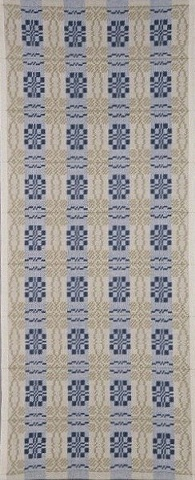 handwoven wall hanging, traditional woven coverlet pattern, drawloom weaving by Kathie Roig