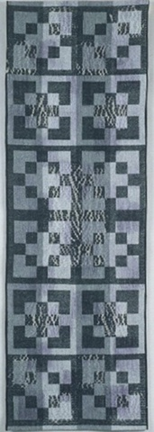 handwoven wall hanging, handpainted warp, woven shibori, nature inspired, drawloom weaving by Kathie Roig
