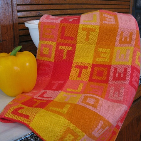 handwoven cotton towel, drawloom weaving by Kathie Roig