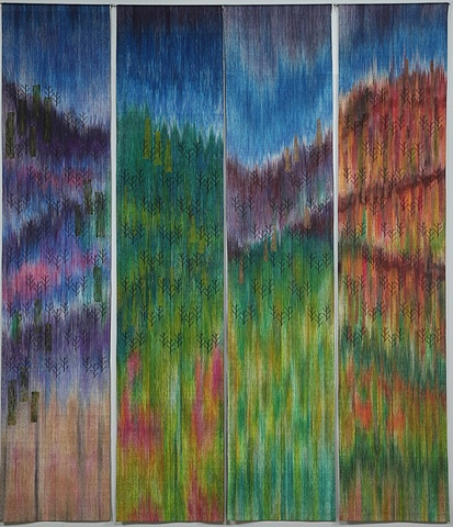 commissioned handwoven wall hanging, painted warp, north carolina mountains, drawloom weaving by Kathie Roig