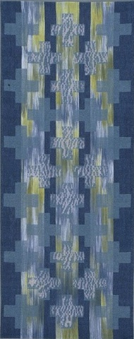 handwoven wall hanging, nature inspired, woven shibori, drawloom weaving by Kathie Roig