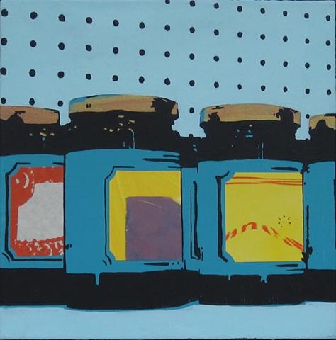 four jam jars