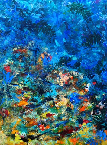 Mixed media on board and canvas, including acrylics, gel mediums, torn paper and oil pastels, expressionist, abstract, contemporary
