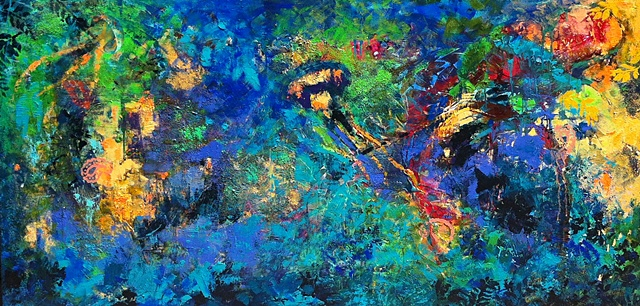 Mixed media abstract acrylic, oil, collage, torn paper painting