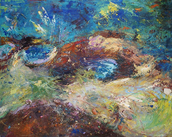 This painting consists of acrylics, torn shells, gel mediums, oils and oil pastels.
