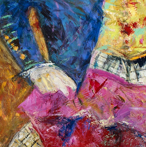 acrylic painting on canvas with bright colors, abstract, representational paintings
