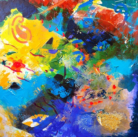 Mixed media on board, including acrylics, gel mediums, torn paper and oil pastels, expressionist, abstract, contemporary