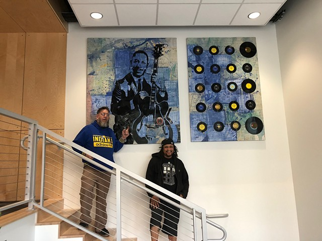 Artists Elvis Mires & Mike Graves with their newly installed Wes Montgomery tribute piece
