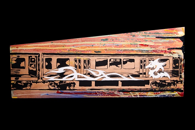 Train Series 001 Acrylic on Wood