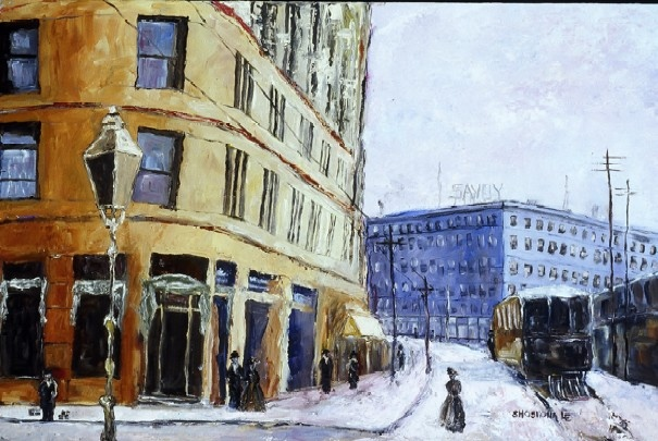 Winter at the Brown Palace Hotel  Oil on Board