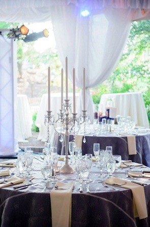 5 Lite Silver Candelabra Table Decor