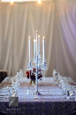 5 Lite Silver Candelabra Head Table