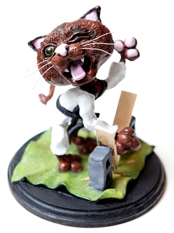 Furio, the Karate Kitty   Sculpey and Acrylic Paint