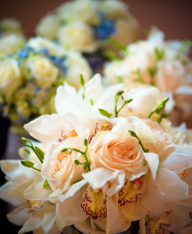 Bridal Bouquet composed of white roses, white cymbidium orchids, and dendrobium orchid stems.  Bridesmaid Bouquets in background composed of white roses and light blue hydrangeas.