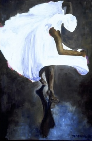 African Dancer  Oil on Board