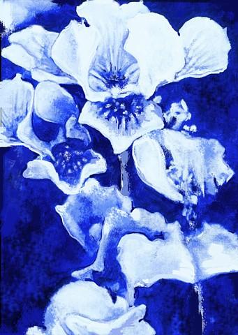 Irises on Blue  Oil on Board