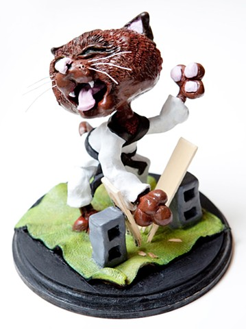 Furio, the Karate Kitty (2)  Sculpey and Acrylic Paint