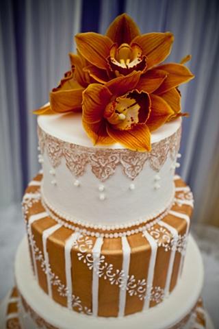 Orange Cymbidium Orchid Cake Topper Blue World Studios