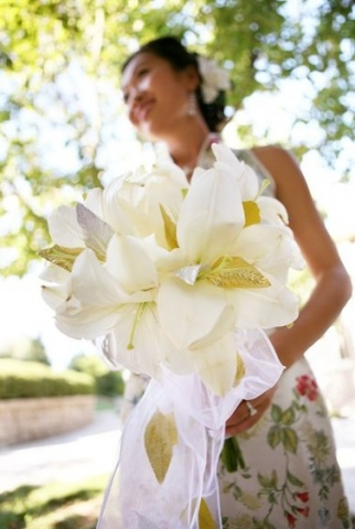 White oriental lily Bridal Bouquet with faux gold and silver accents. I Shot the Bride