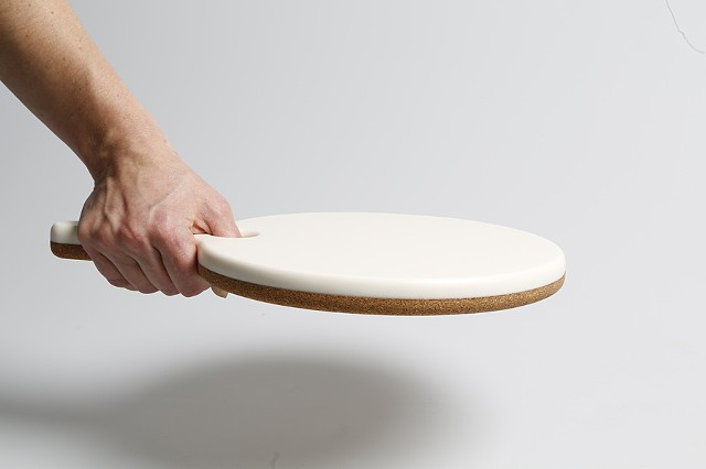 "Cameo Cork Trivet / Corian Food Service  9.5"" diameter Paddle"