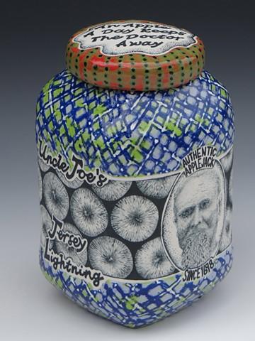 moonshine, ceramics, best of show, alcohol, lidded jar, clay
