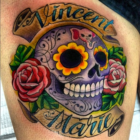 Sugar Skull Tattoo, Skull Tattoo, Lovecraft tattoo, Laura Usowski