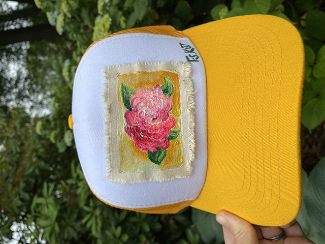 Yellow Peony Abstract Artist Hat