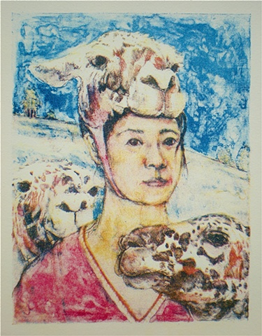 Akemi Ohira, I am You, I am Ewe, Christine O'Donnell, politics, sartire, costume, political commentary, portrait, animals, animals in art, lithography, lithographs, color lithograph, color lithographs, prints, works on paper