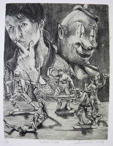 Akemi Ohira, lithograph, lithographs, lithography, works on paper, Akemi Ohira, politics, war