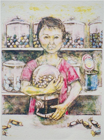 All Mine, candies, candy, meds, medicine, pharmaseutical, lithograph, lithography, color lithograph, Akemi Ohira,