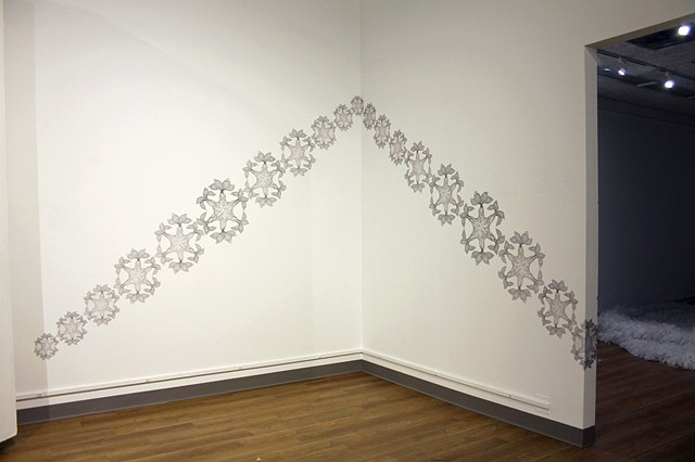 large scale drawing, wall drawing, arrow