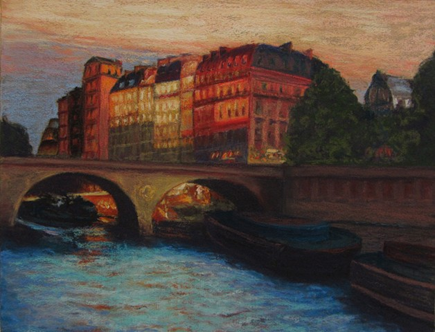 I took the photo for this painting while on a boat trip on the Seine.