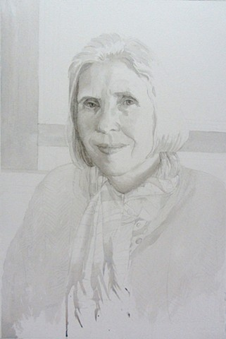Monochromatic watercolor of Jo Ann Tooley