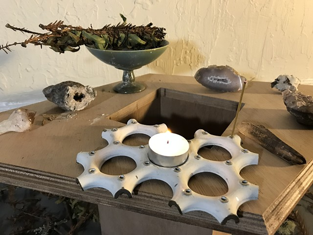 Large Steel Candle & Incense Holder