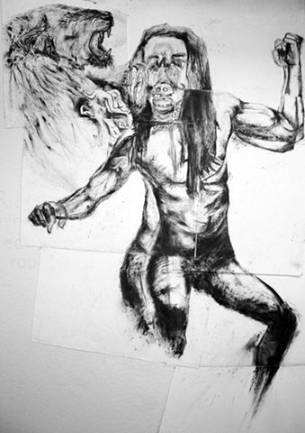 male, drawing, art, graphite, paper, figure, bobby english, jr, lion, ancestry