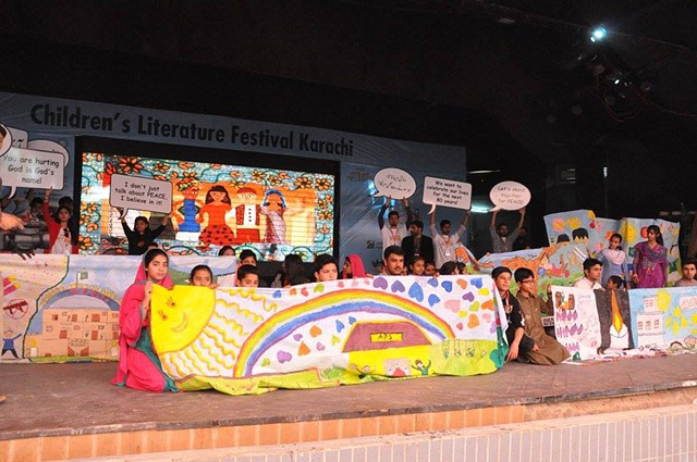 Amai mural and Animation installation honouring the brave survivors of Army Public School. Children's Literature Festival Karachi