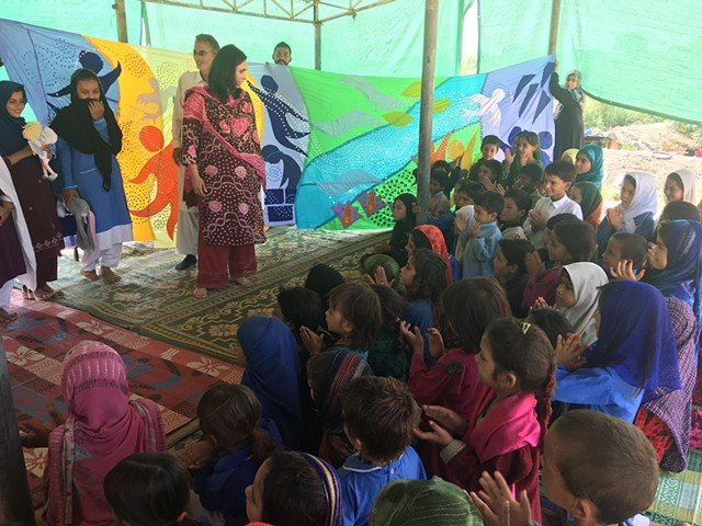 Sharing ' Mural of Love' in Pehli Kiran school at F 11 shanty town in Islamabad