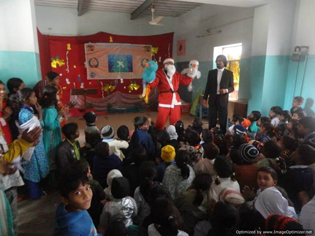 Amai Celebrating Christmas with Christian children