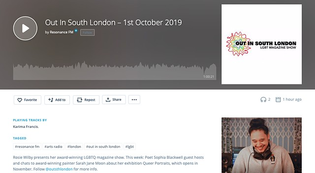 Out In South London Interview, Resonance FM, 1st October 2019