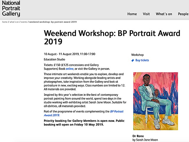 WEEKEND WORKSHOP, The National Portrait Gallery, London